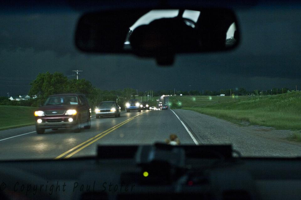 Evacuee traffic Fleeing El Reno Tornado