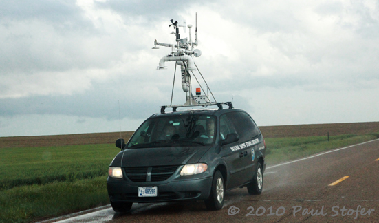 VORTEX 2 Mobile Mesonet studying a storm near Tribune, Kansas