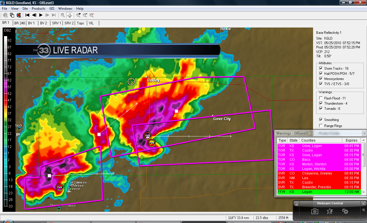 Grove, Kansas Tornado on Radar. We are the white circle