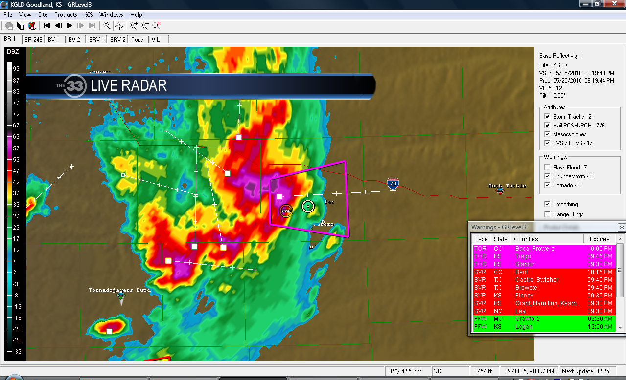 Grove, Kansas radar. We are the white circle.. Cutting it close!