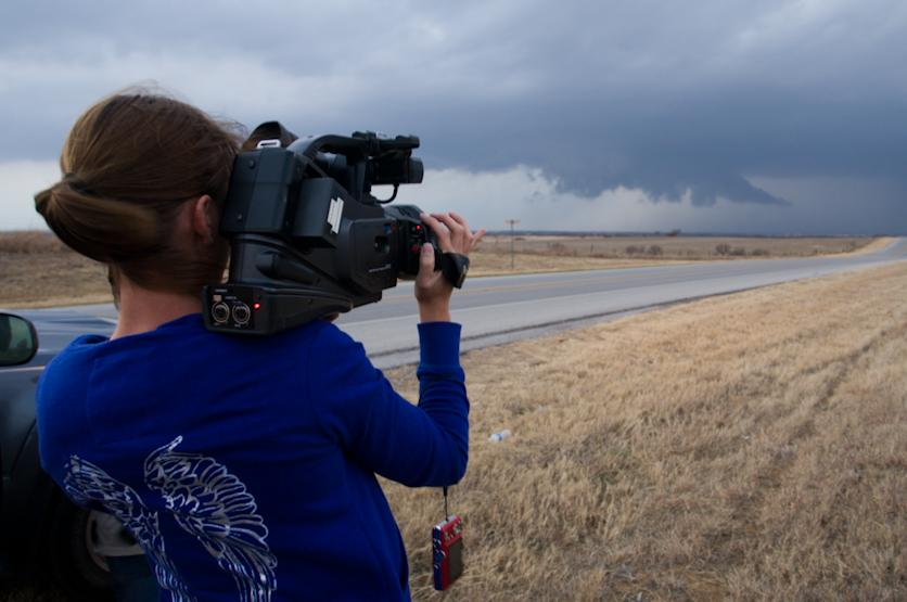 Chase Partner Jessica Trober Filming a Wall Cloud