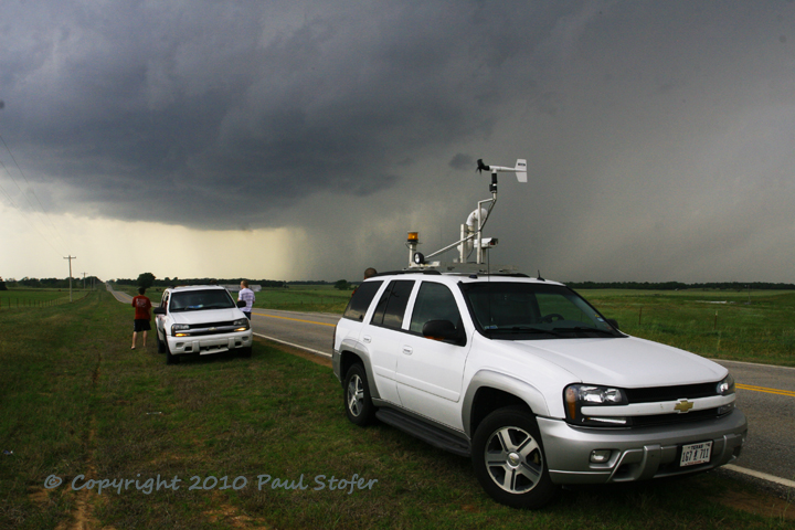 Storm Chaser Vehicle and Rain Free Base in Oklahoma