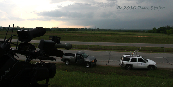 Setting up TV equipment for the approaching tornado